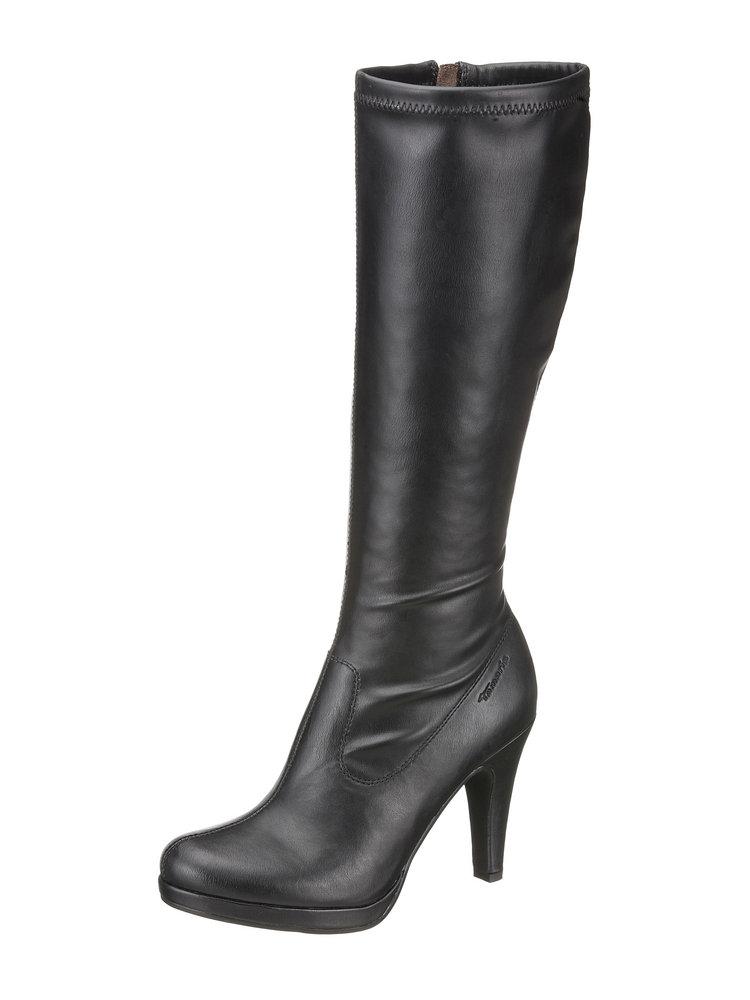 tamaris tamaris high heel stiefel aus lederimitat mit 90 mm absatz schwarz im heine online. Black Bedroom Furniture Sets. Home Design Ideas