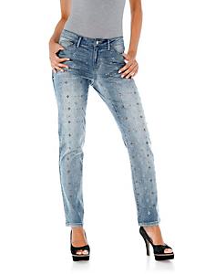 Linea Tesini - Boyfriend-Jeans mit Nieten und Strass
