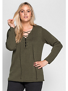 Sheego Casual - sheego Casual Pullover mit Schnürung