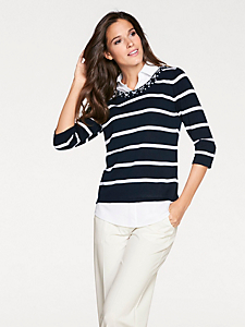 Patrizia Dini - 2-in-1-Pullover geringelt