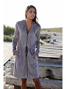 Lascana - LASCANA Nicki-Hauskleid mit Reißverschluss und Kapuze